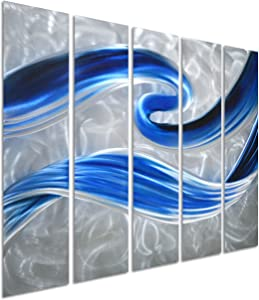 """Pure Art Swirls of Color - Small Metal Wall Art Decor - Abstract Blue Silver Hanging Sculpture of 5 Panels - Modern Decoration of 34"""" x 24"""""""