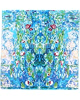 Aqueena Women's 100% Luxury Charmeuse Satin Square Silk Scarf Oil Paintings