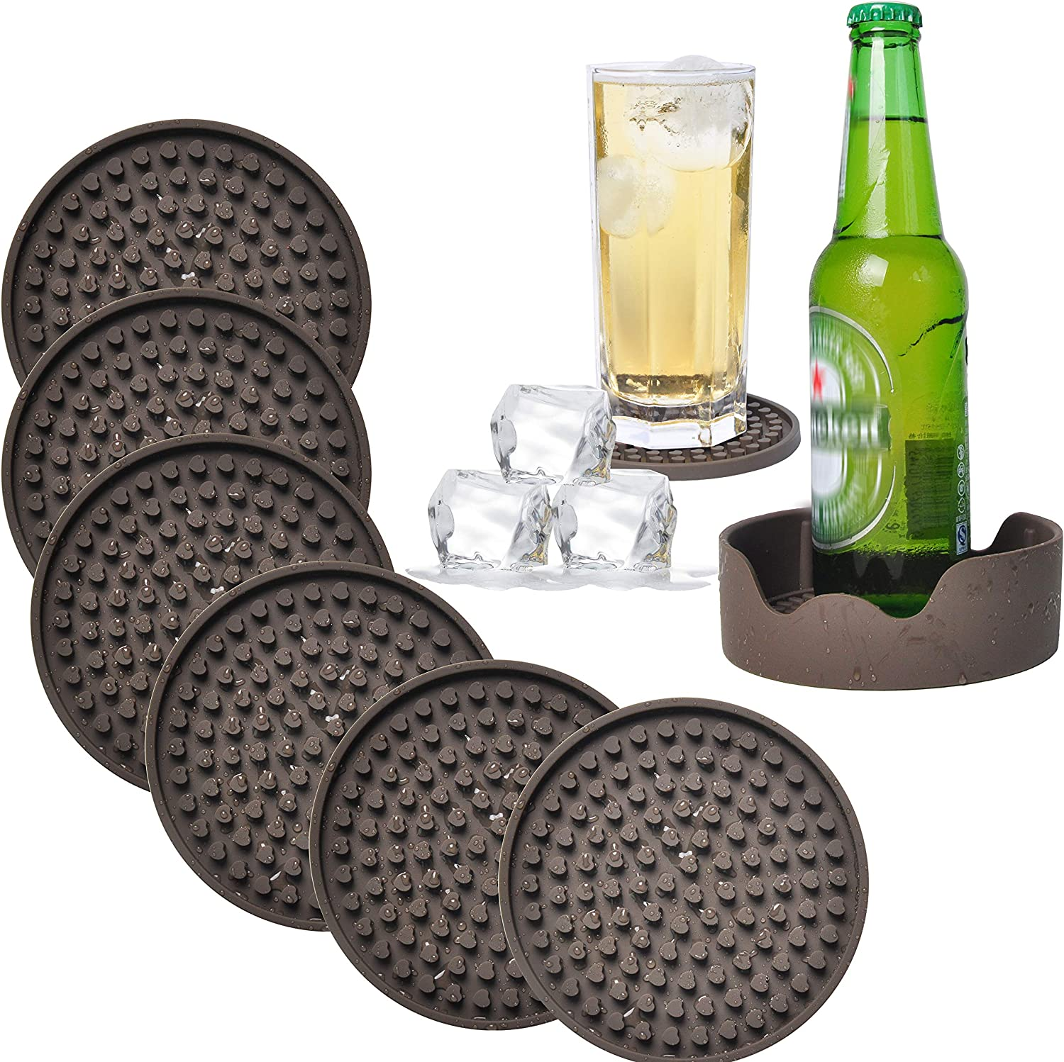 Set of 6 Silico Table Drinks Coasters Set with Holder Box /& Bottle Opener Ring