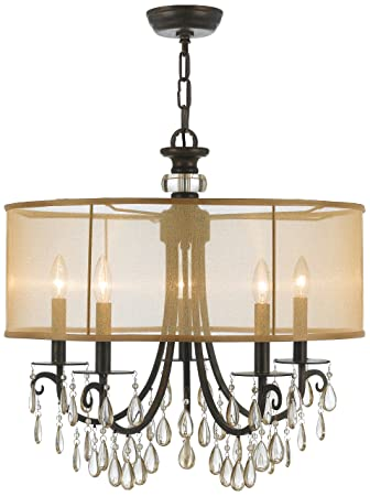 crystorama 5625eb crystal accents five light chandelier from hampton collection in - Crystorama
