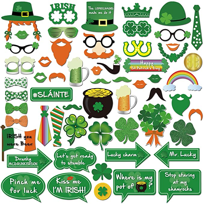 St.patrick Photo Booth(59pcs),Konsait Funny St.patricks Day Photobooth Irish Beer Photo Booth Props with Sticks Selfie Props for Kids Women Man for ...