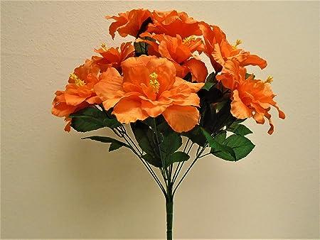 Phoenix gold orange hibiscus bush 12 artificial silk flowers 20 phoenix gold orange hibiscus bush 12 artificial silk flowers 20quot bouquet 5325or mightylinksfo