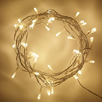 big sale 8cdb0 9e668 Lights4fun 50 Warm White LED Indoor Fairy Lights Clear Cable Plug in 24v 4m  IP20
