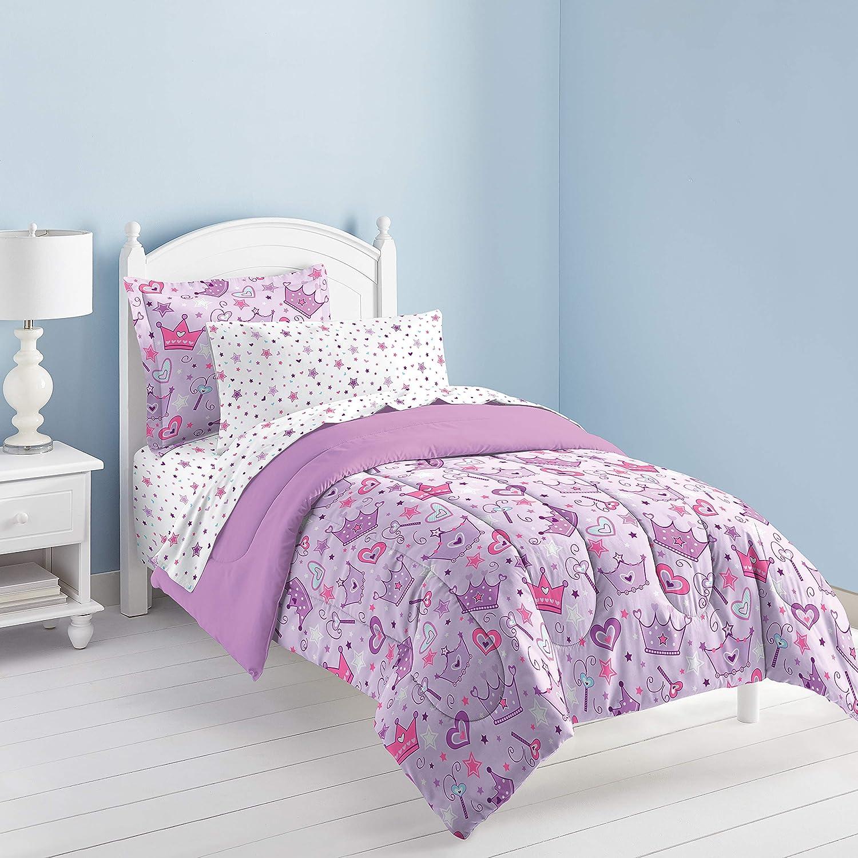 Amazon Com Dream Factory Purple Princess Hearts And Crowns Girls Comforter Set Multi Twin Home Kitchen