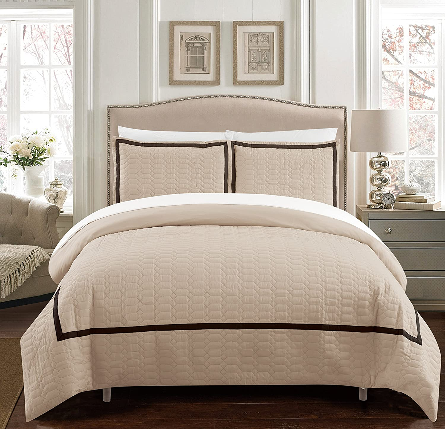 Chic Home Cleofe 5 Piece Duvet Cover Set Hotel Collection Two Tone Banded Print Zipper Closure Bed in a Bag Bedding - Sheets Decorative Pillow Sham Included, Twin XL Beige