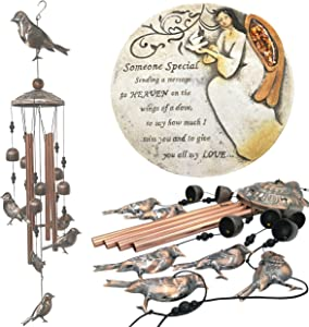Sympathy Bereavement Gift Set - Dove Memorial Wind Chimes for Loss of Loved Ones with Memorial Garden Stone Plaque - Someone Special Message with Angel, Cardinal Birds, with 3 Exclusive Poems & Quote