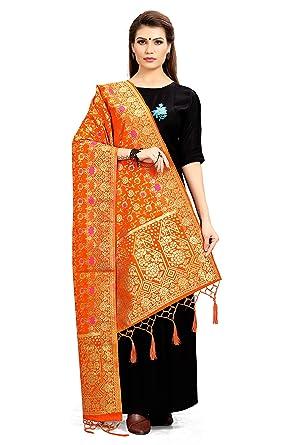 ea787856dd ELINA FASHION Women's Zari Work Indian Pakistani Banarasi Art Silk Woven  Only Dupatta for Dress Material