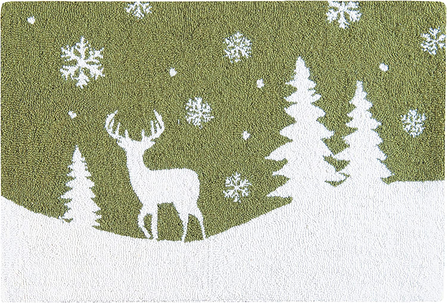 C&F Home Woodland Frost White Deer Buck Snowflake Lodge Green Wool Lodge Handcrafted Premium Hooked Indoor Area Rug 2x3 Hooked Rug Green