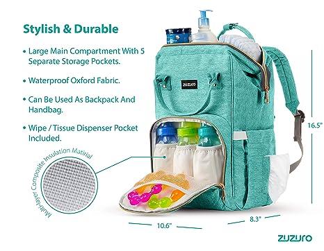 Amazon.com: ZUZURO - Mochila para pañales - Bolsa para bebé ...