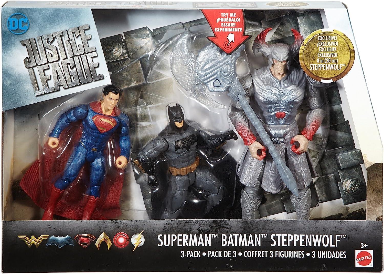 Justice League - Pack de 3 muñecos Batman, Superman y Steppenwolf ...