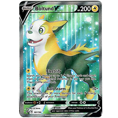 Boltund V 181/192 - Full Art - Ultra Rare - Pokemon Sword and Shield Rebel Clash: Toys & Games