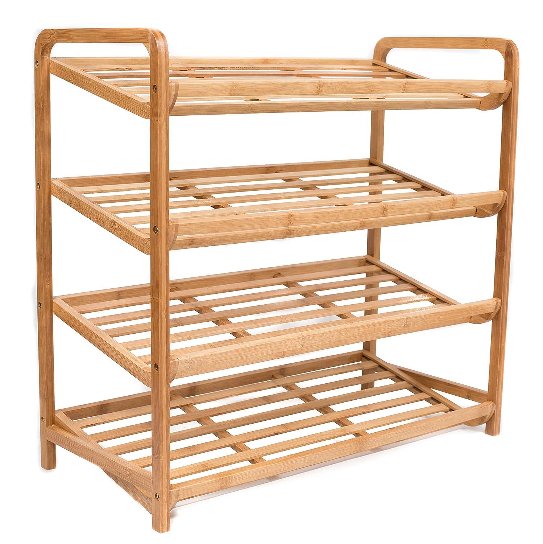 Amazon.com: BirdRock Home 4 Tier Bamboo Shoe Rack | Environmentally  Friendly | Fits 9 12 Shoes: Arts, Crafts U0026 Sewing