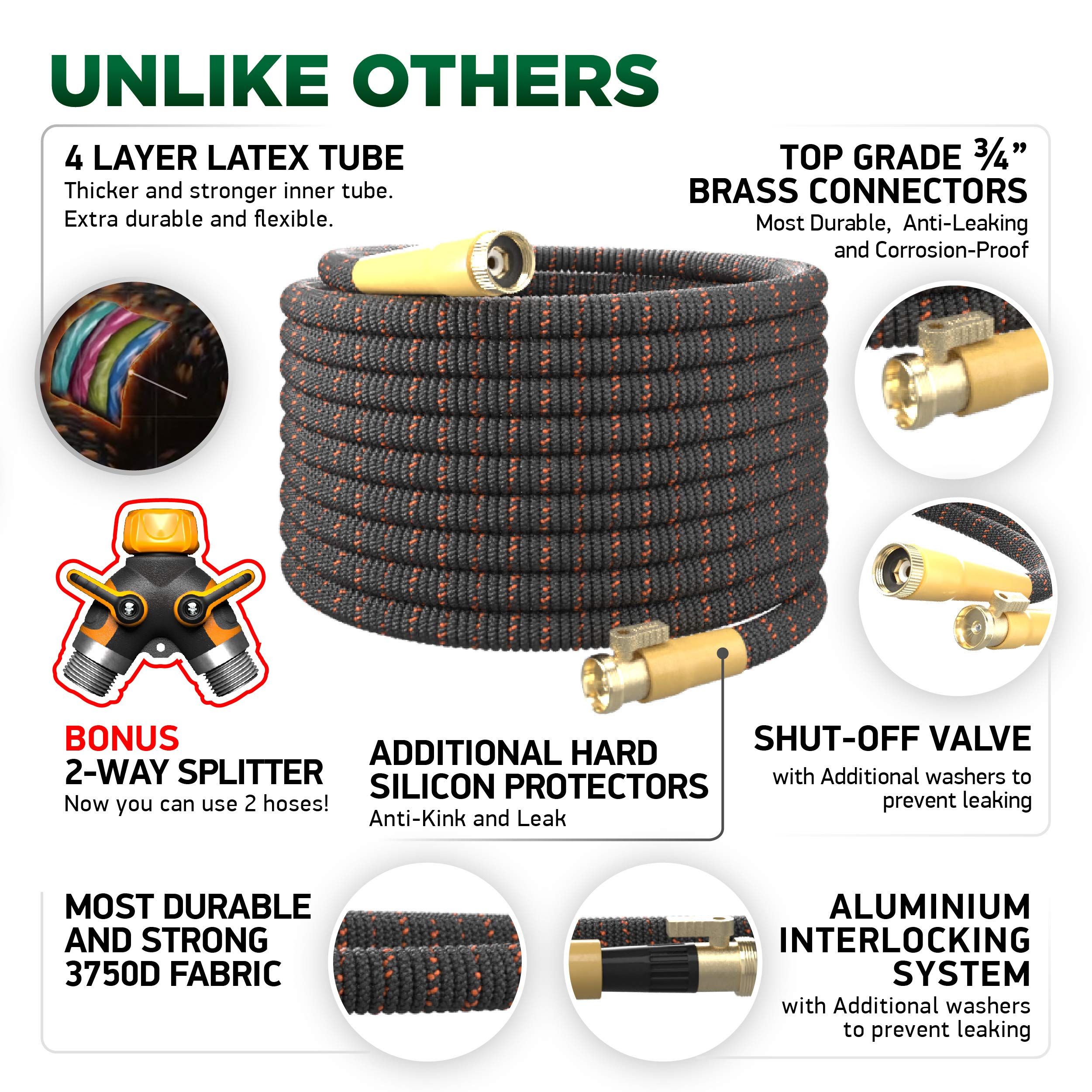 [UPGRADED 2019] 50 Feet Expandable Garden Water Hose - Superior Strength 3750D | 4-Layers Latex | Extra-Strong Brass Connectors | 10-Way Durable Zinc Spray Nozzle, 2-Way Pocket Flexible Splitter by TBI Pro (Image #2)