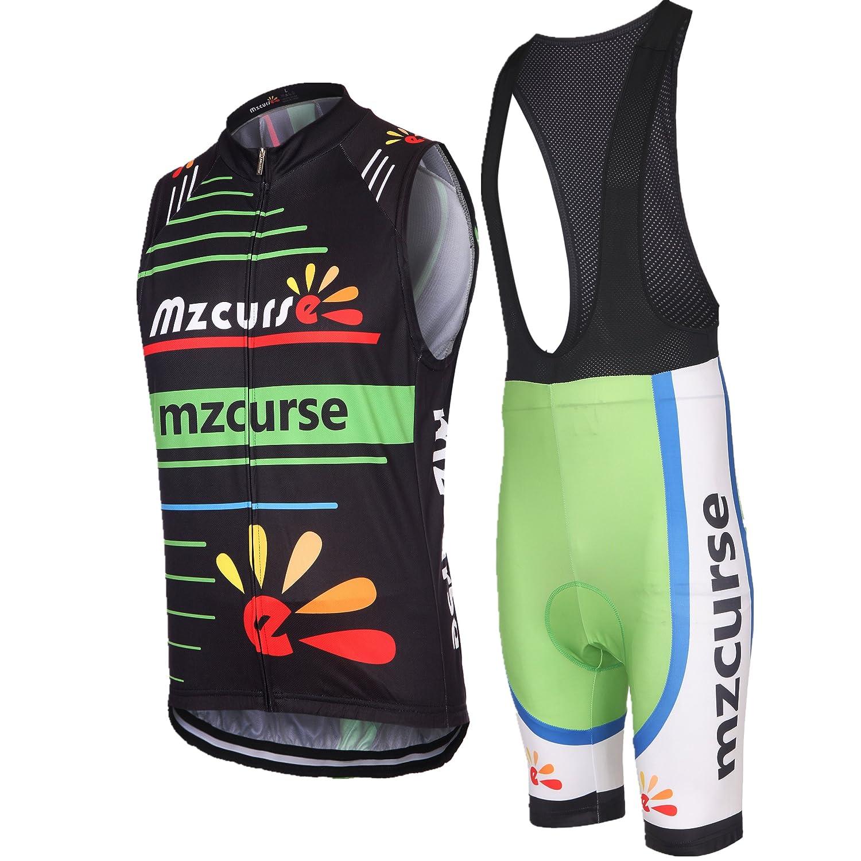 Mzcurse Women's Cycling Wind Vest WindVest Sleeveless + 3D Padded Bib Pants Shorts Set Medium please check the size chart) nq-25bibbxset-m