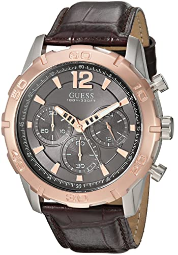 9995542e9ea Buy GUESS Men s U0864G1 Sporty Stainless Steel Multi-Function Watch with  Chronograph Dial and Genuine Leather Strap Buckle Online at Low Prices in  India ...
