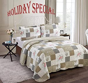 "Bedspread Quilt Set Pre-Washed 3-Piece Vintage Plaid Rose Patchwork Country Print Reversible, Full Size (90x90 Inch), Faux Cotton Soft Coverlet, 1 Quilt and 2 Pillow Shams (Rose/Tan, Queen/20""x26""x2)"