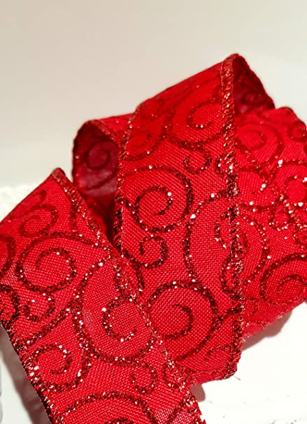 Christmas wire edged ribbon luxurious glitter detail 1m
