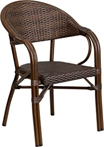 Flash Furniture Milano Series Cocoa Rattan Restaurant Patio Chair with Bamboo-Aluminum Frame
