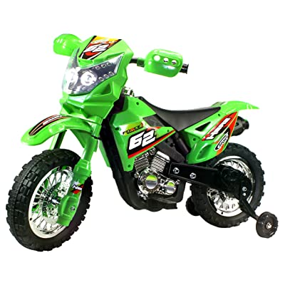 Ride On Motorcycles Extreme Rider Dirt Bike Children's Kid's Battery Operated Rechargeable w/ Removable Training Wheels, Ages 3 - 8 (Green): Toys & Games