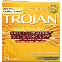 TROJAN Naked Sensations Ultra Ribbed Lubricated Latex Condoms, 24 Count