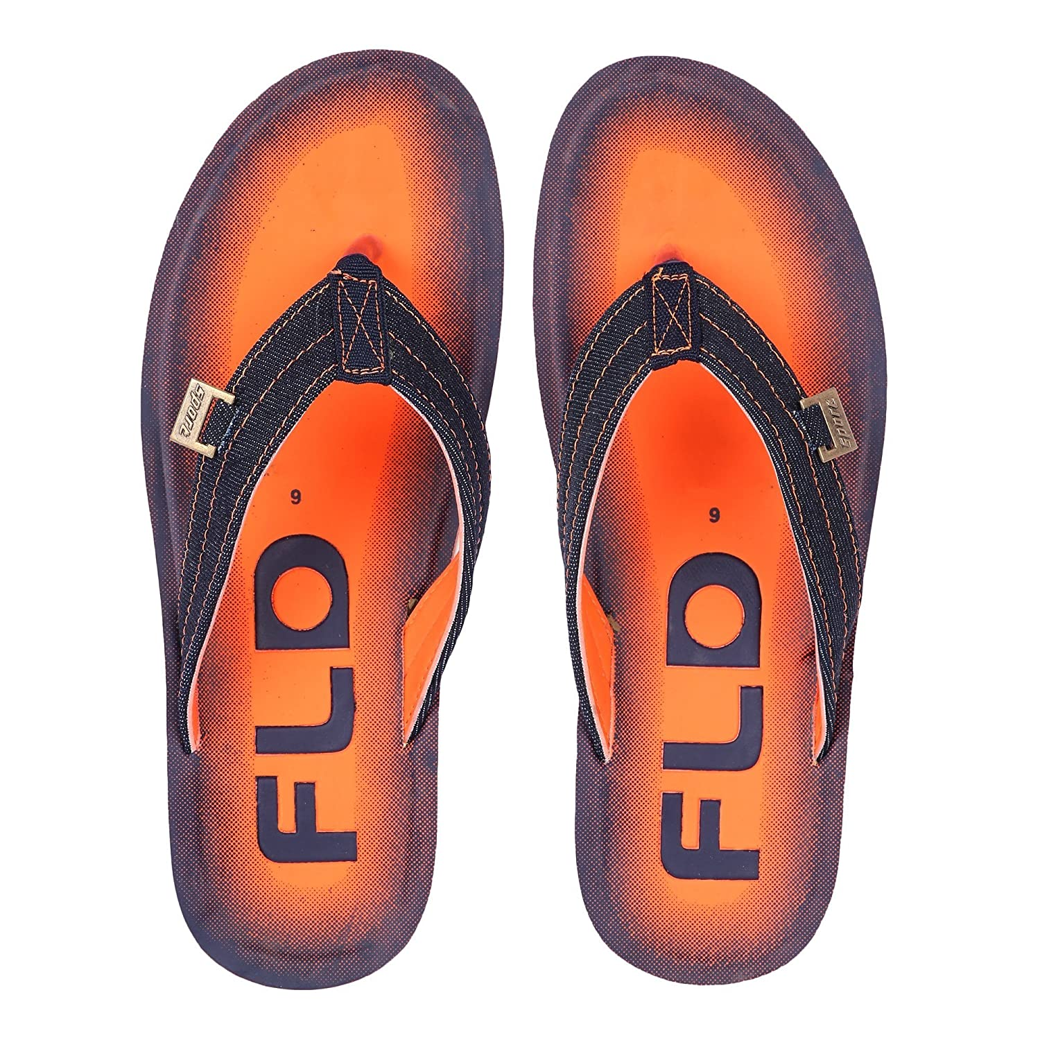 8d125255df13ca Vonc PU Sole Blue and Orange Flip Flops for Men  Buy Online at Low Prices  in India - Amazon.in