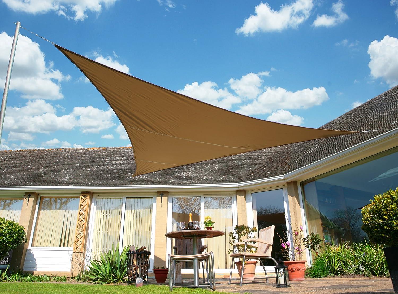 クッカバラ日除けシェードセイル モカ色 5m正三角形 紫外線98%カット 防水タイプ OL3261LT B00K5NO1UM 10995   5m正三角形