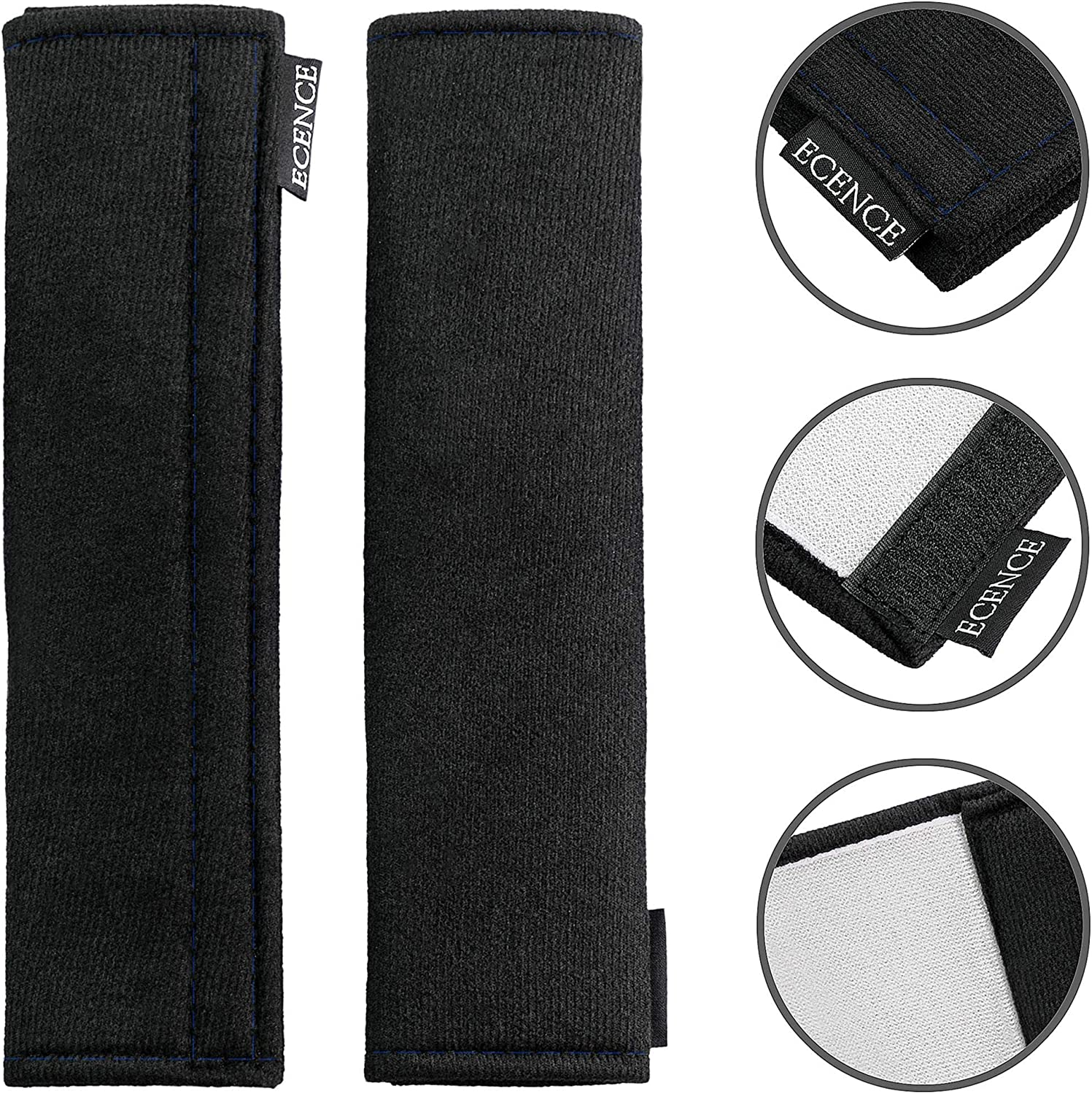 set of 2 seat belt pads for shoulder belts ECENCE Seat belt pads children multi-functional pads for car and truck seat belts Black with white seam adult automotive seat belt pads