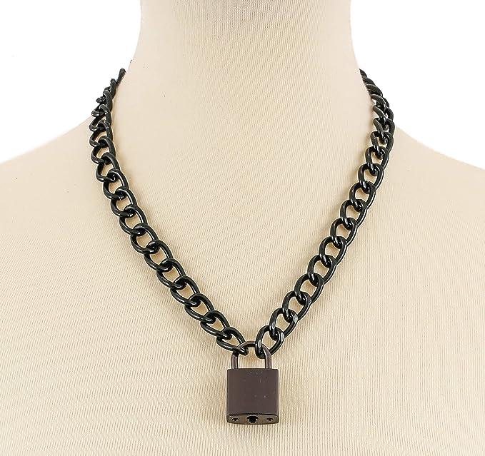 4c8efbec4a9ec Black Pad Lock Gothic Necklace Pendant Black Chain Real Lock
