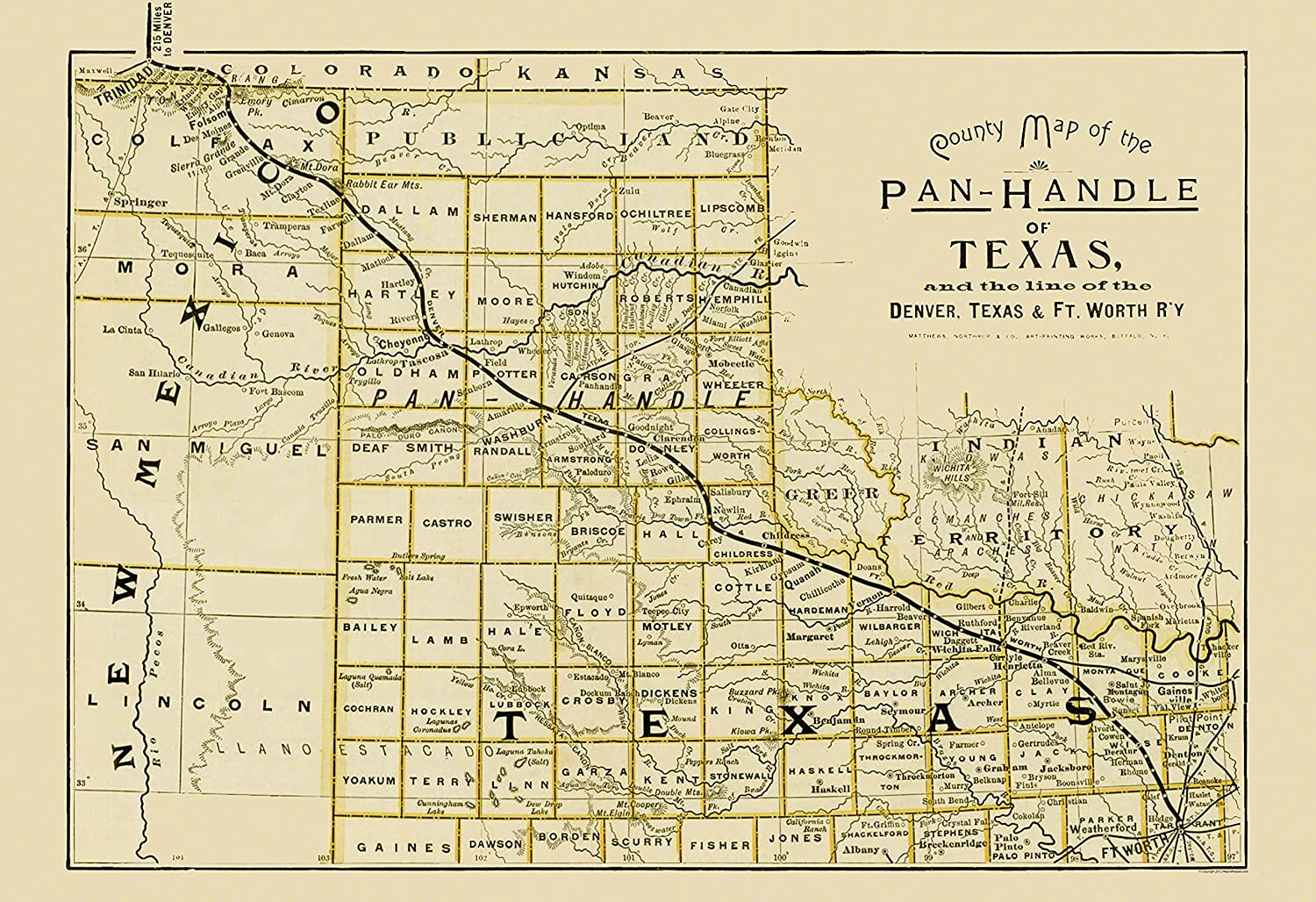 Railroad Map Of Texas.Amazon Com Old Railroad Map Denver Texas And Ft Worth Railroad
