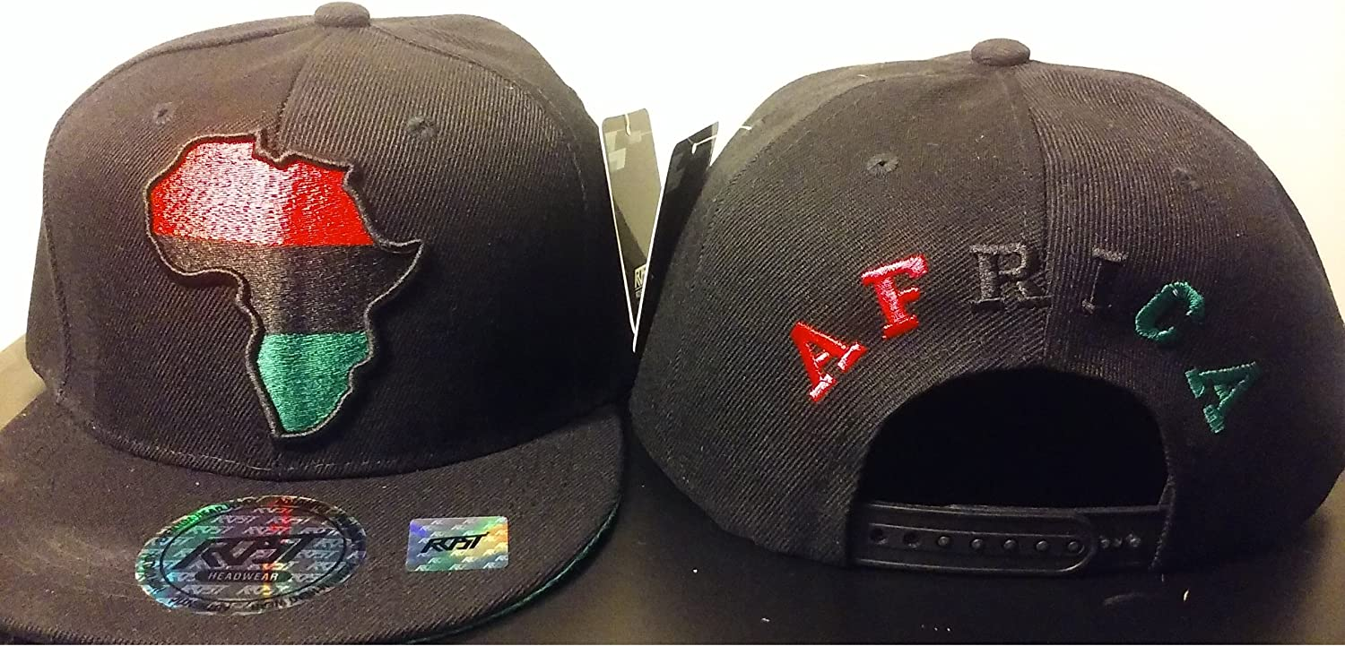 RBG Snapback Africa Hat Red Black Green Embroidered Pan African BLACK