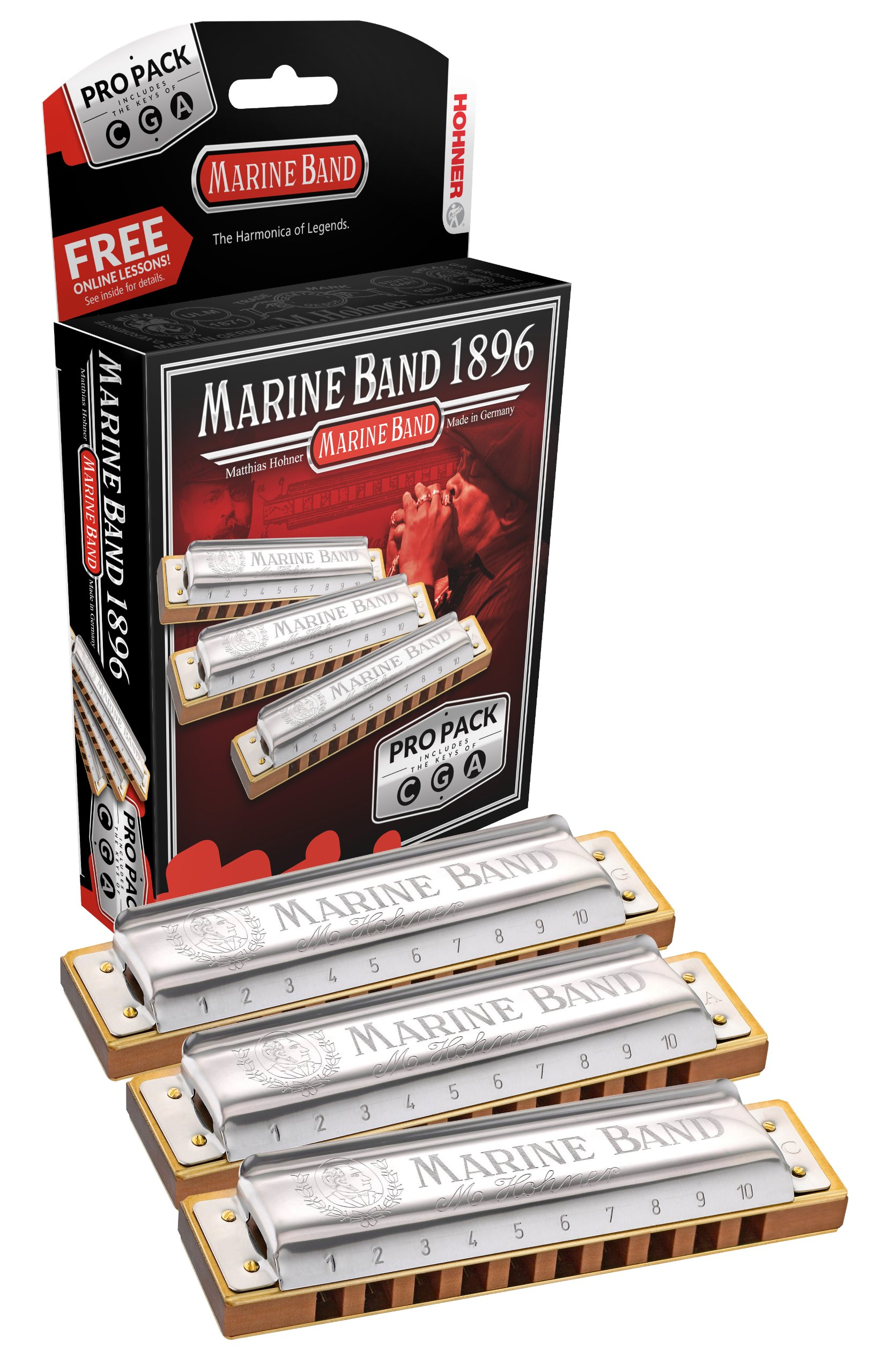 Hohner 3P1896BX Marine Band Harmonica, Pro Pack, Keys of C, G, and A Major by Hohner Accordions