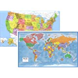 24x36 World and USA Classic Premier 3D Two Wall Map Set (Laminated)