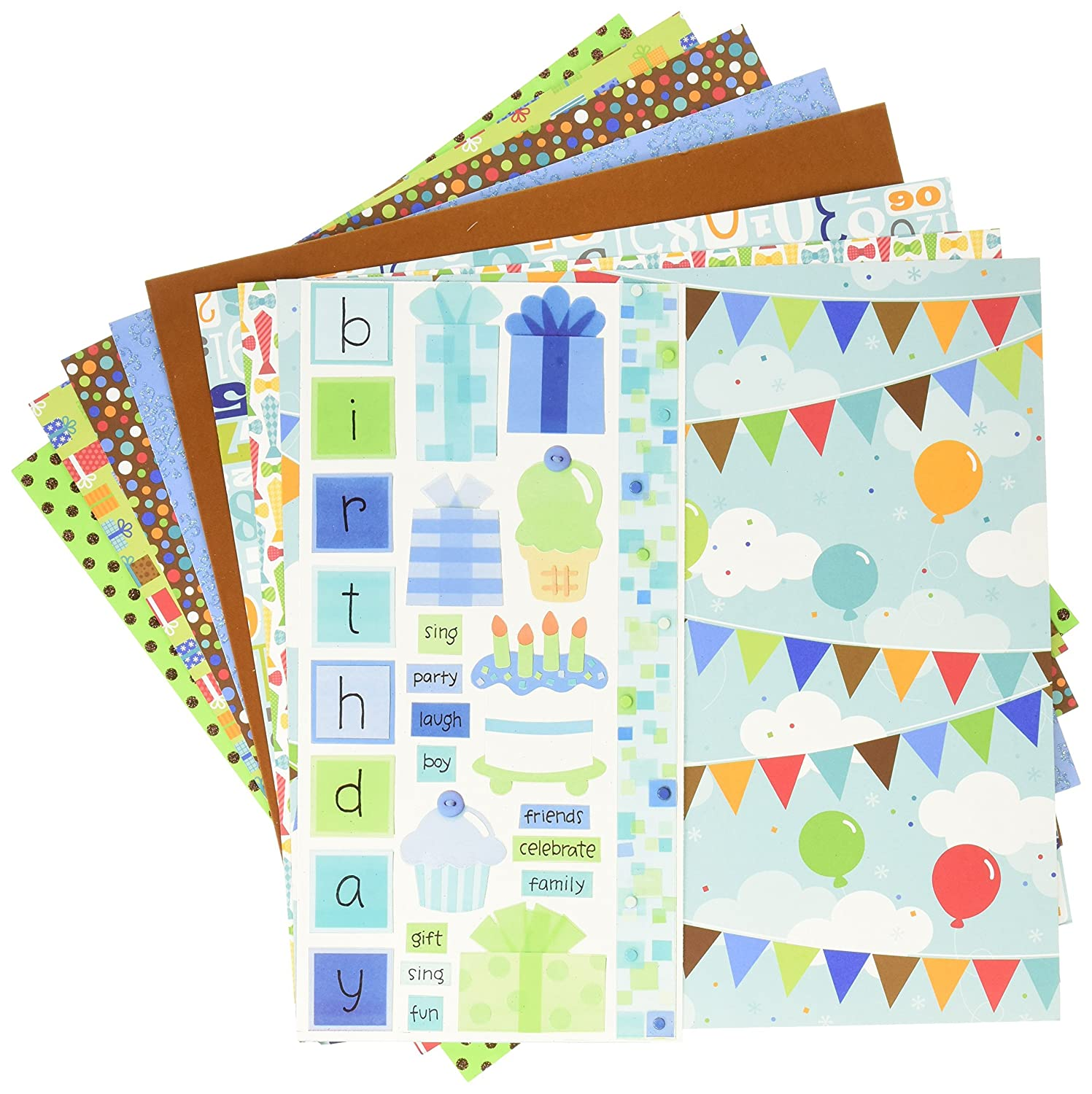Multicolor 12 x 12 12 Pack DOODLEBUG 5187 Paper Plus Value Supplies Birthday Boy