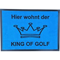 CEBEGO,Golf Fußmatte King of Golf, Fußabstreifer Herren blau mit Krone