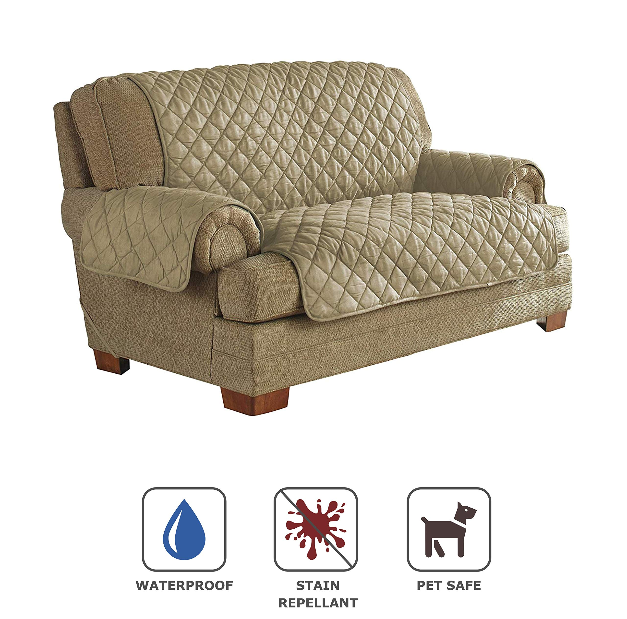 Serta | Quilted Ultra Suede Waterproof Furniture Protector, Pet Safe & Stain Resistant (Loveseat, Camel)