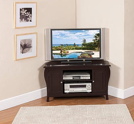 Amazon Com Kings Brand Espresso Finish Wood Corner Tv Stand