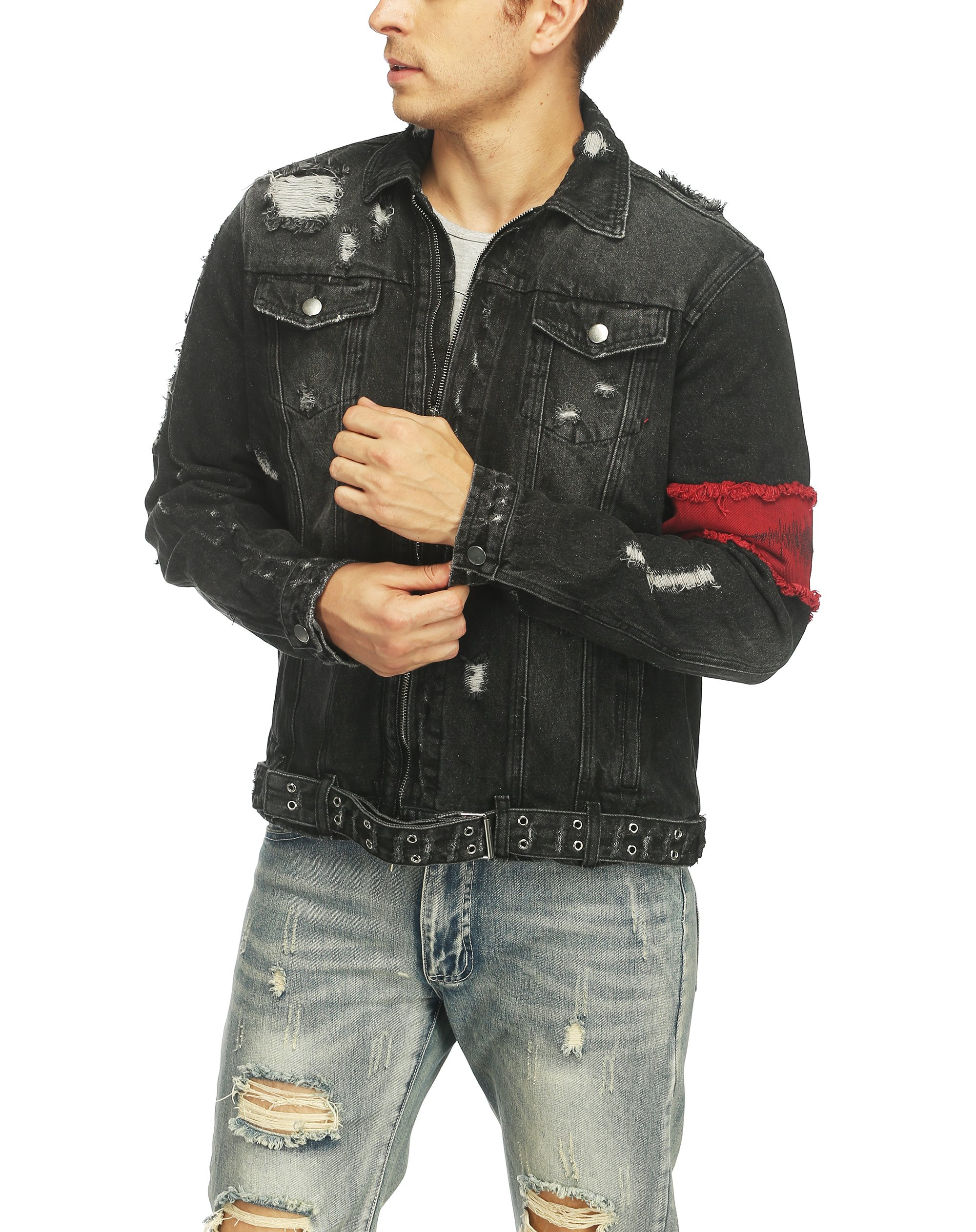Men's Denim Jacket Ripped Distressed Jeans Jacket Rugged Trucker Jacket For Man (Black,XL) by iooho