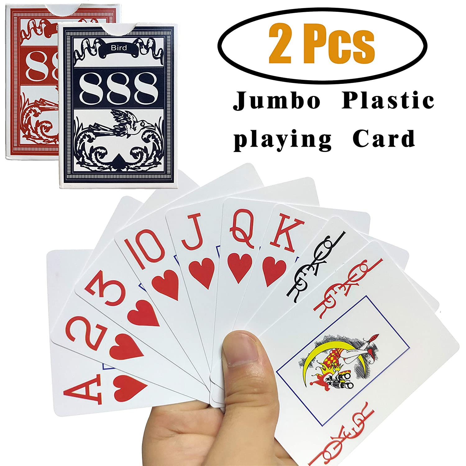 Blackjack Pool Beach Water Games and All Kind of Beer Drinking Card Games for Texas Hold/'em DZPLP for Magic Props Pinochle for Texas Holdem Euchre Neasyth Waterproof Plastic Playing Cards,Jumbo Index