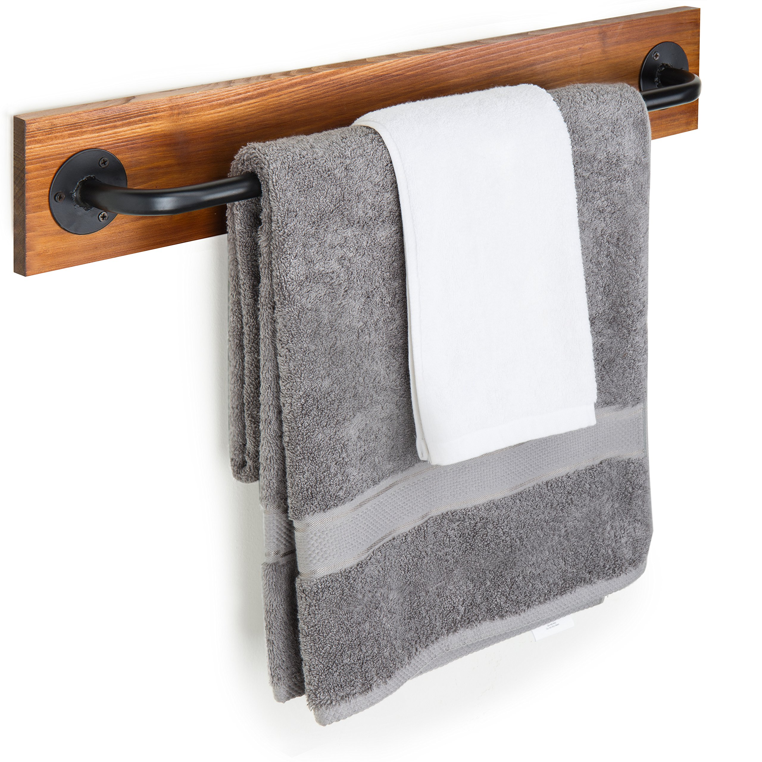Rustic Wood & Metal Wall Mounted Towel Bar/Hanging Rod Unit For Modular Storage Racks