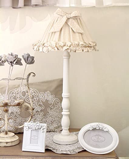Paralume Shabby Chic Angelica Home Country Beige A Pois Bianchi Amazon It Illuminazione