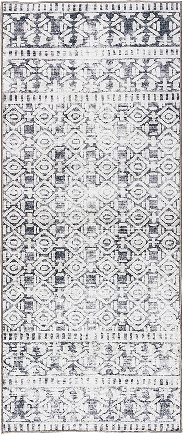 ReaLife Machine Washable Rug - Stain Resistant, Non-Shed - Eco-Friendly, Non-Slip, Family & Pet Friendly - Premium Recycled Fibers - Luna Distressed Tribal Stripe - Gray Beige, 2'6