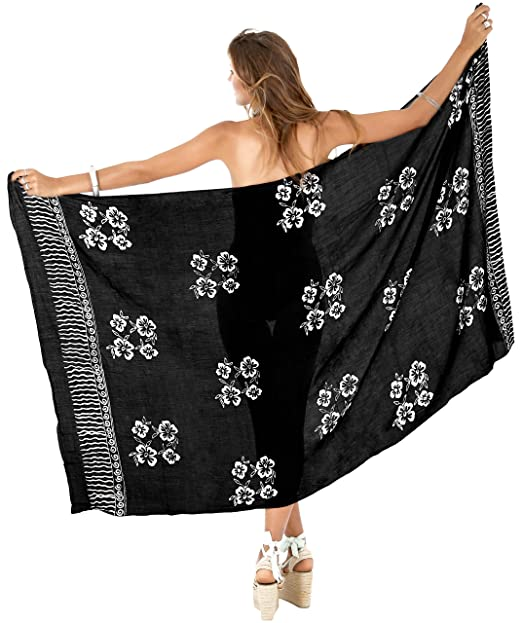 b3338f2a28 LA LEELA Rayon Bikini Cover Up Girls Pareo Sarong Printed 78 quot X43 quot   Black 4474