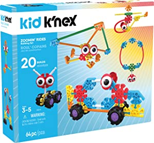 K'NEX Kid K'Nex – Zoomin' Rides Building Set – 64Piece – Ages 3 & Up Preschool Educational Toy Building Set