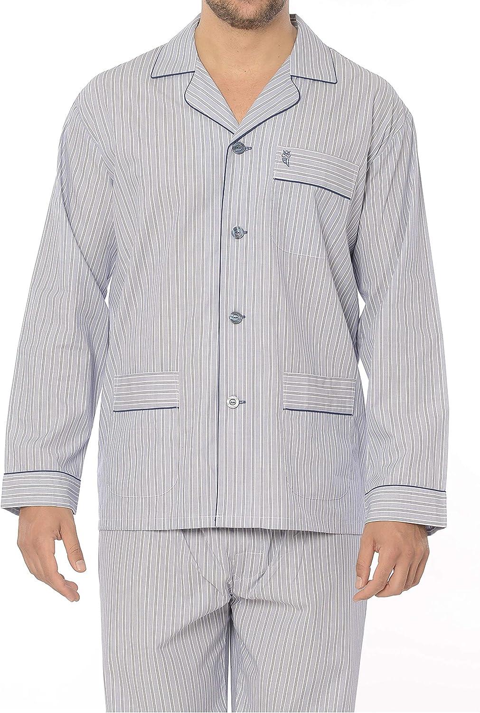 El B/úho Nocturno Viyela ou Popeline V/êtements de Nuit pour Homme 100/% Coton ou 60/% cot Ensemble de Pyjama Classique Hommes /à Manches Longes et Veste /à Boutons // 40/% Pol.