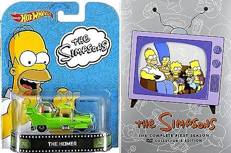 Amazon Com The Simpsons Season 1 Dvd Set The Homer Simpsons Car Set Retro Entertainment Hot Wheels 13 Cartoon Tv Episodes Movies Tv