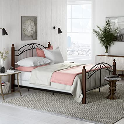 23dd1ec0e70f Amazon.com  Dorel Living Vega Wood and Metal Queen Bed