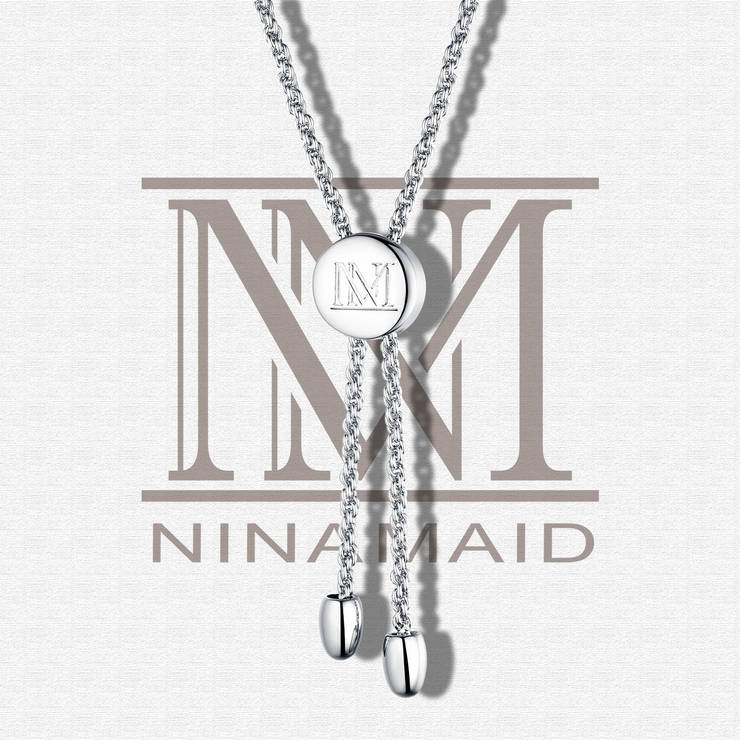 "NINAMAID ""Mom"" Charm Expandable Bolo Bracelet with Cubic Zirconia Adjustable White Gold Plated Copper Jewelry Gift for Mother by NINAMAID (Image #4)"