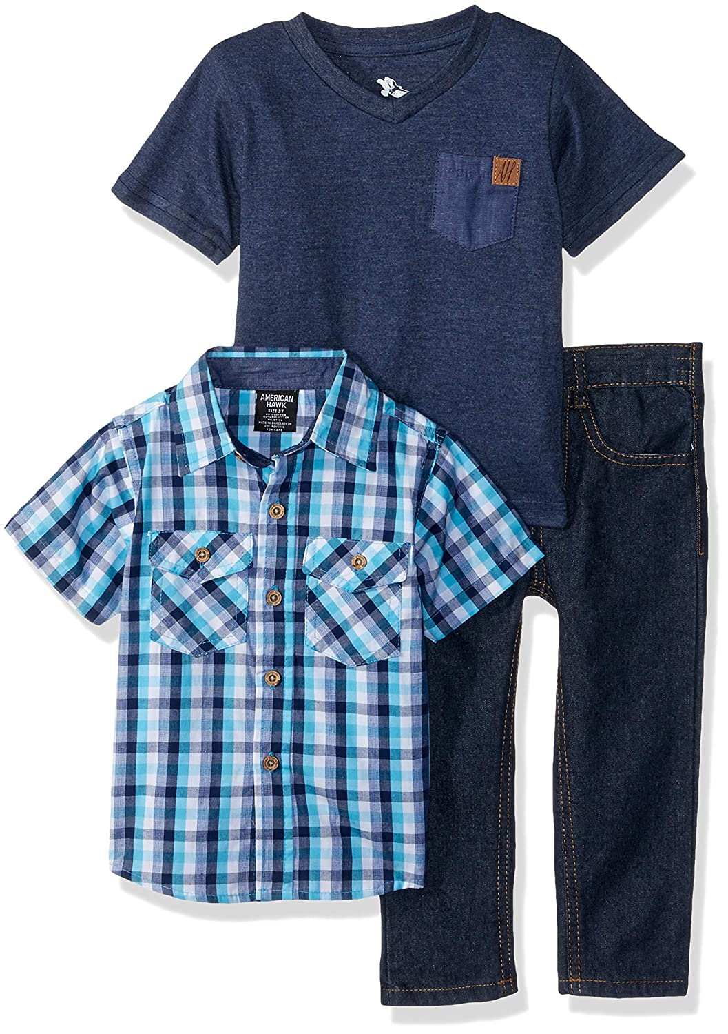 American Hawk Boys' Short Sleeve Plaid, T-Shirt, and Jean Set