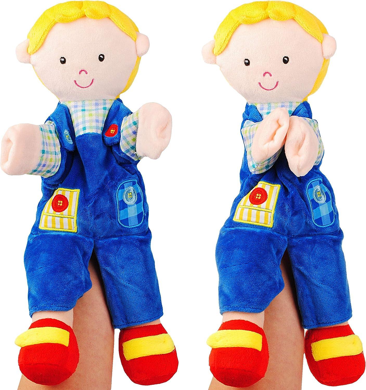 Puppe.. Handspielpuppe Name f/ür Kinder /& Erwachsene 37 cm gro/ß ! Pl/üschtier alles-meine.de GmbH gro/ße Handpuppe // Stoffpuppe Junge mit Blauer Hose Pl/üschpuppe inkl