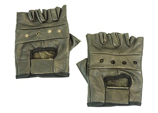 693f7c6c9 Men's Lightweight Brown Leather Fingerless Gloves Bikers Steampunk ...